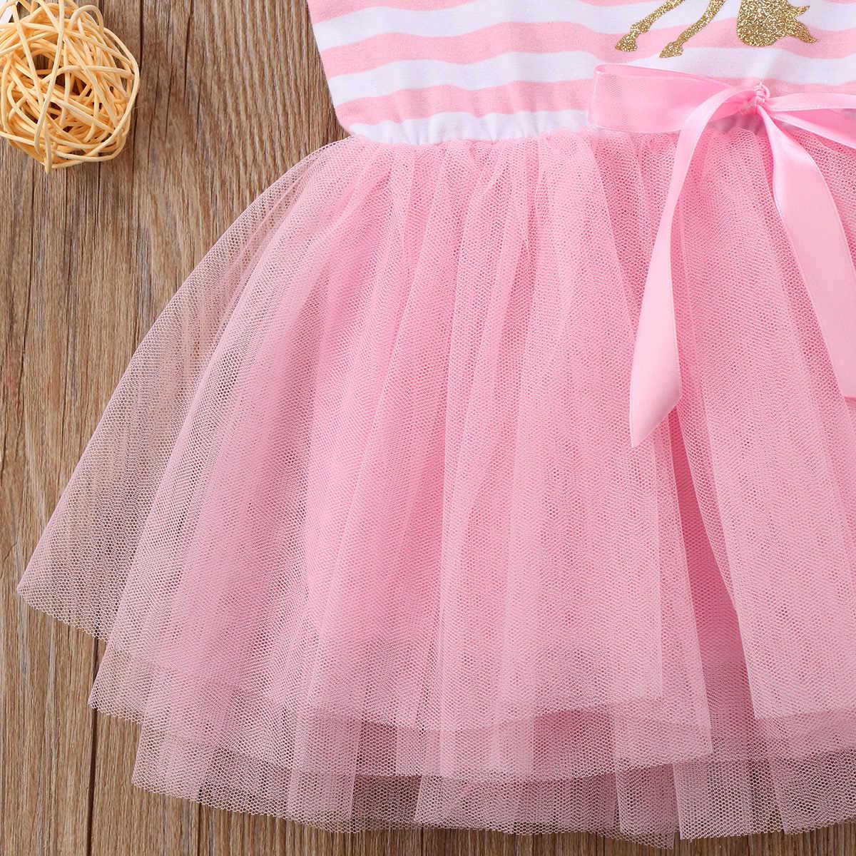 Unicorn bebek kız prenses elbiseleri Çizgili Kolsuz Parti Düğün Tutu Tül Elbise Bebek Giysileri