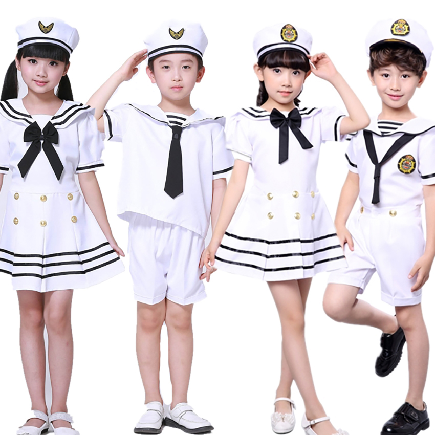 Home Supply Navy Military Uniform For Children Sailor Chorus Cosplay Halloween Costume For Kids Girl Boy Kindergarten Fancy School Disguise Up-To-Date Styling