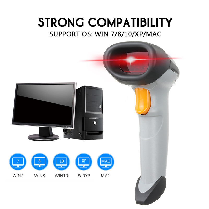 Portable Barcode Scanner Wireless Bar Code Reader USB Laser Barcode Scanner Wired For Win 7/8/10/XP/Mac DC5V SetPortable Barcode Scanner Wireless Bar Code Reader USB Laser Barcode Scanner Wired For Win 7/8/10/XP/Mac DC5V Set