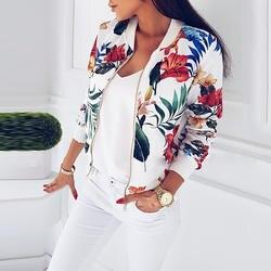 Плюс размеры Весна для женщин куртки с цветным Ретро принтом пальто женская верхняя одежда с длинными рукавами короткие курточка бомбер