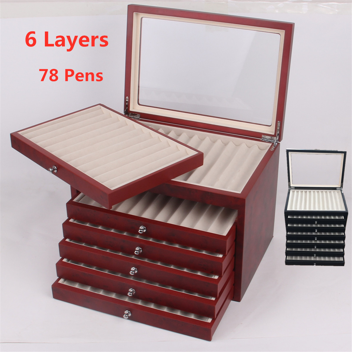 6 Layer Large Capacity Wooden Pen Box Storage Collector Organizer Box 78 Pen Fountain Wood Display Case Holder Black Red
