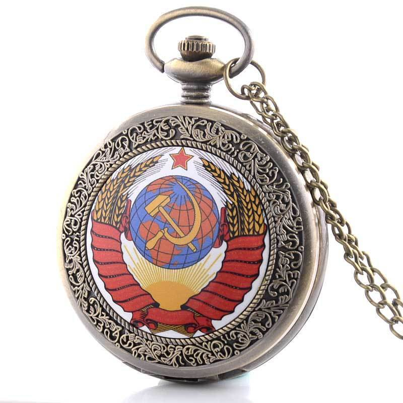 Vintage Retro Soviet Russia Antique Pocket Watch Necklace Quartz Pendant Chain