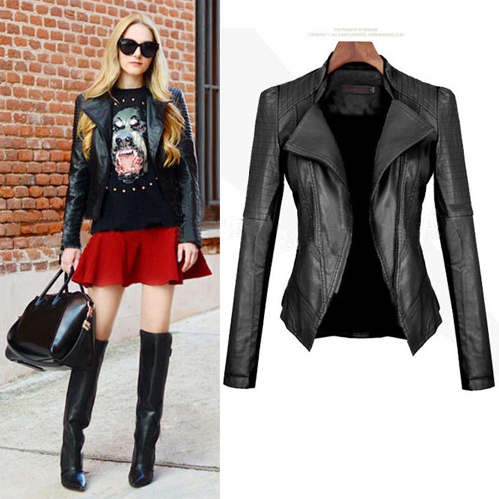 Women's Crop Motorcycle Jacket Spring Streetwear 3xl Plus Size   Leather   Biker Coat Korean Zipper Solid Color Long Sleeve Female