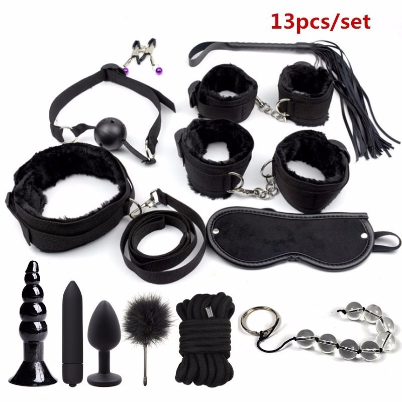 BDSM Bondage Restraint Set Sex Handcuffs Whip Anal Beads Butt Plug Anal Plug Bullet Vibrator Sex Toys For Woman Adults