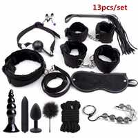 BDSM Bondage Restraint Set Sex Handcuffs Whip Anal Beads Butt Plug Anal Plug Bullet Vibrator Sex Toys for Woman Adults