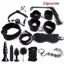 BDSM Bondage Restraint Set Sex Handcuffs Whip Anal Beads Butt Plug Anal Plug Bul