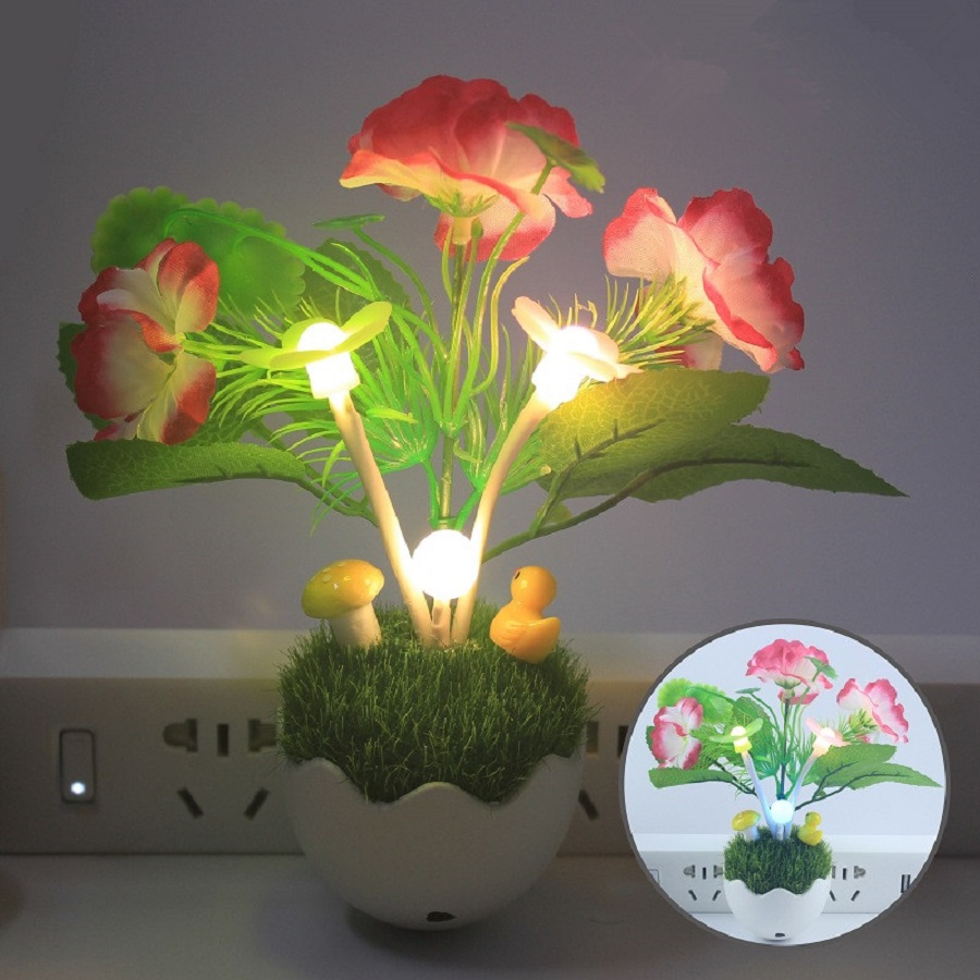Night Light Control Intelligent Led Nightlights Color Changing Mushroom Light Simulation Plant 100V-240V US Plug Night Light