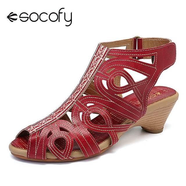 bfdd2b1ae3e SOCOFY Soft Genuine Leather Pure Color Stitching Flowers Pattern Adjustable Hook  Loop Sandals For Women Shoes High Heels New