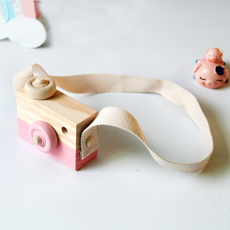 9 8 3 5CM Cute Hanging Wooden Camera Toy Birthday Gifts Wood Toys for Children Lovely Room Decoration Furnishing Articles kids in Action Toy Figures from Toys Hobbies