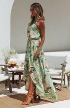 Summer Dresses HOT Women Boho Long Maxi Dress Casual Sleeveless Turtleneck Elastic High Waist Print Sundress