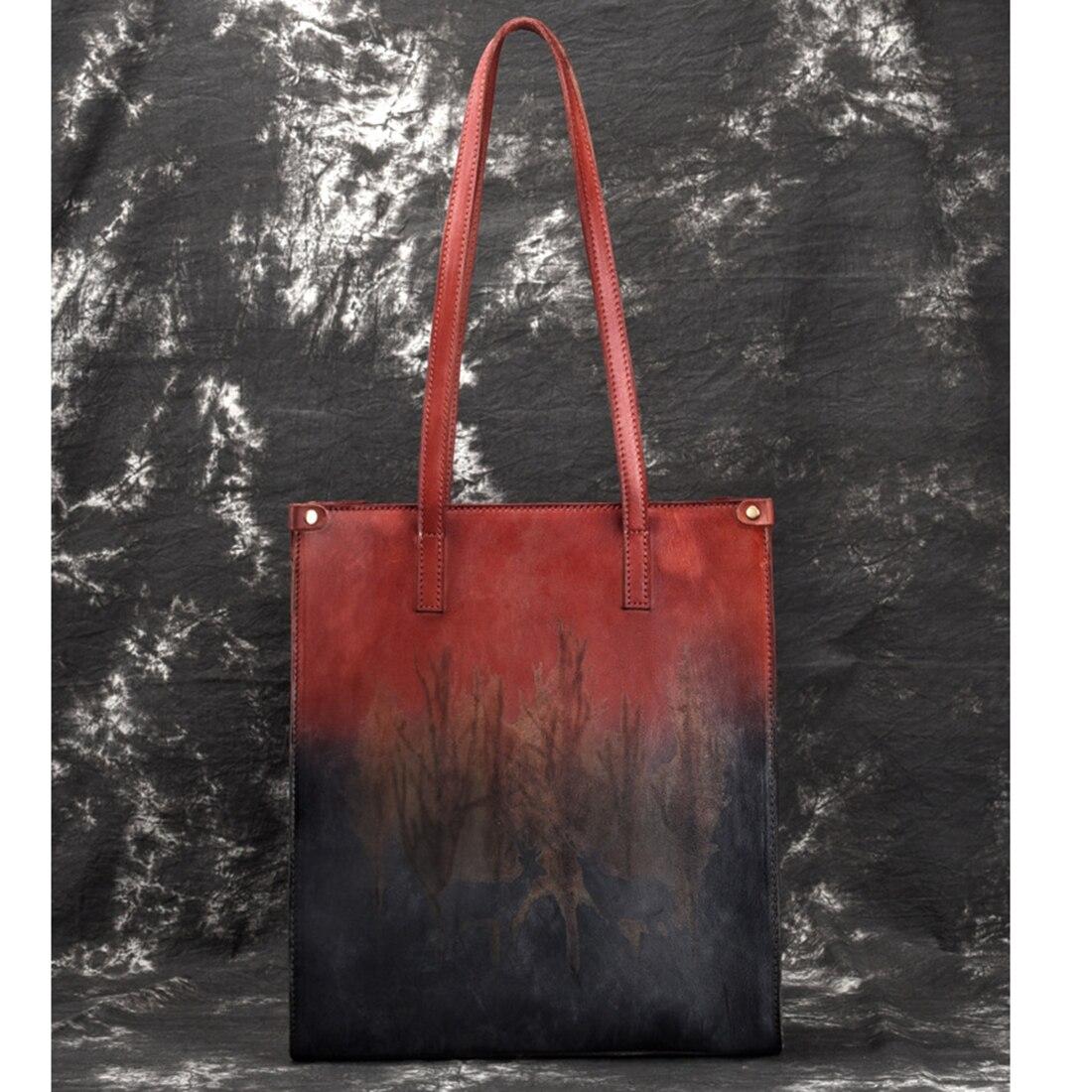 High Quality Genuine Leather Handbag Ladies Shopping Bags Deer Floral  Pattern Large Capacity Retro Natural 7d21ef45367ec