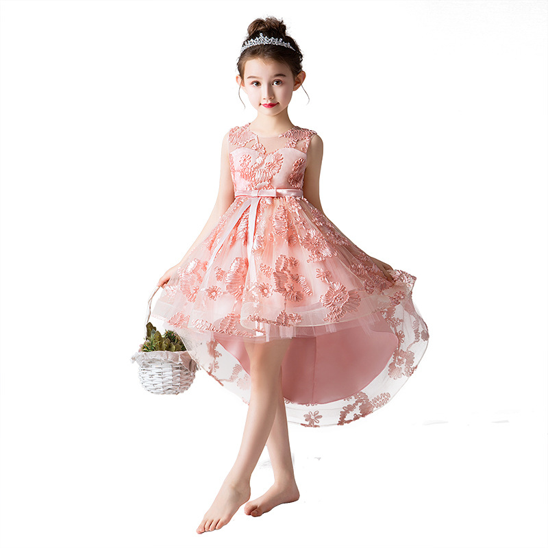 pink evening party fishtail   dress   age for 4-14 yrs little   girl   lace   flower     girls     dresses   2019 graduation party gown kids frocks