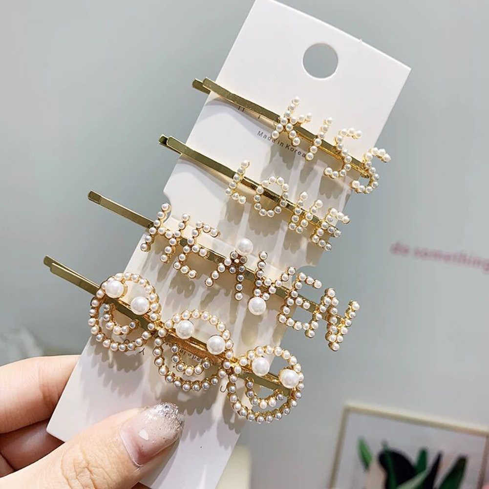1Pcs Fashion Ins Women's Smiling Face Letter Pearl Hair Clips Girls Sweet One-word Hairpins Barrette Bobby Pins Hair Accessories
