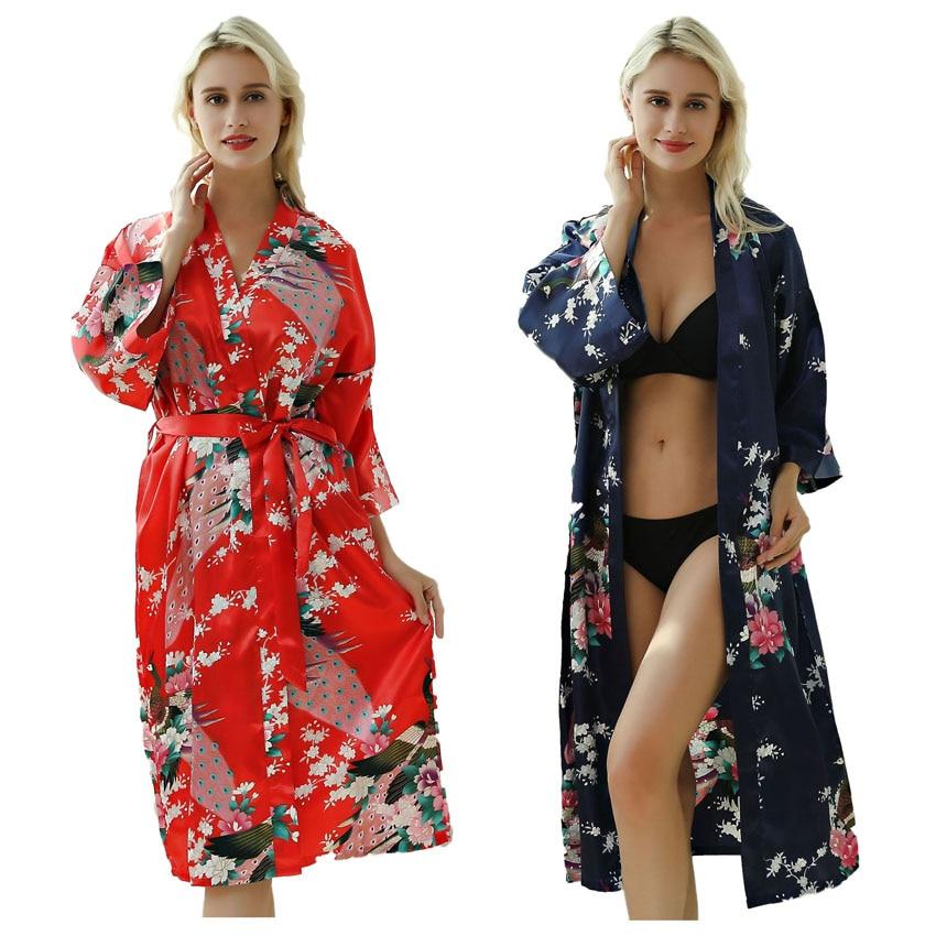 Lady Sexy Costumes Japanese Kimono Yukata Dress With Belt Satin Silk Cardigan Pajamas Sleepwear Woman Smooth Bathing Robe Gown