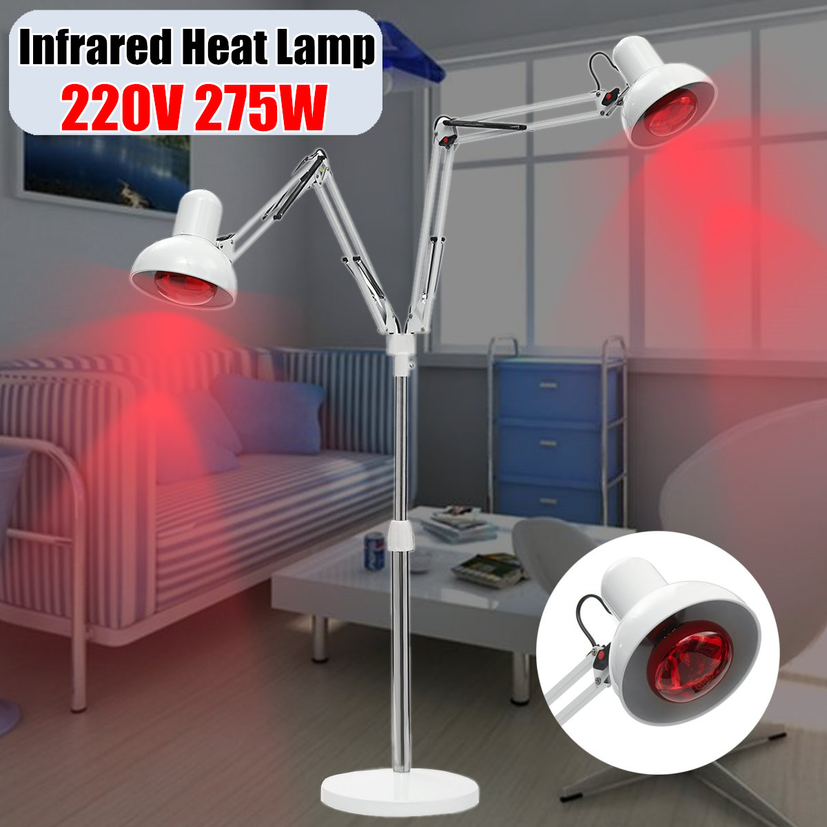 220V 275W E27 Infrared Physiotherapy Explosion proof Lamp Heater for Muscle Pain Cold Relief Light Therapy Infra Care Massage