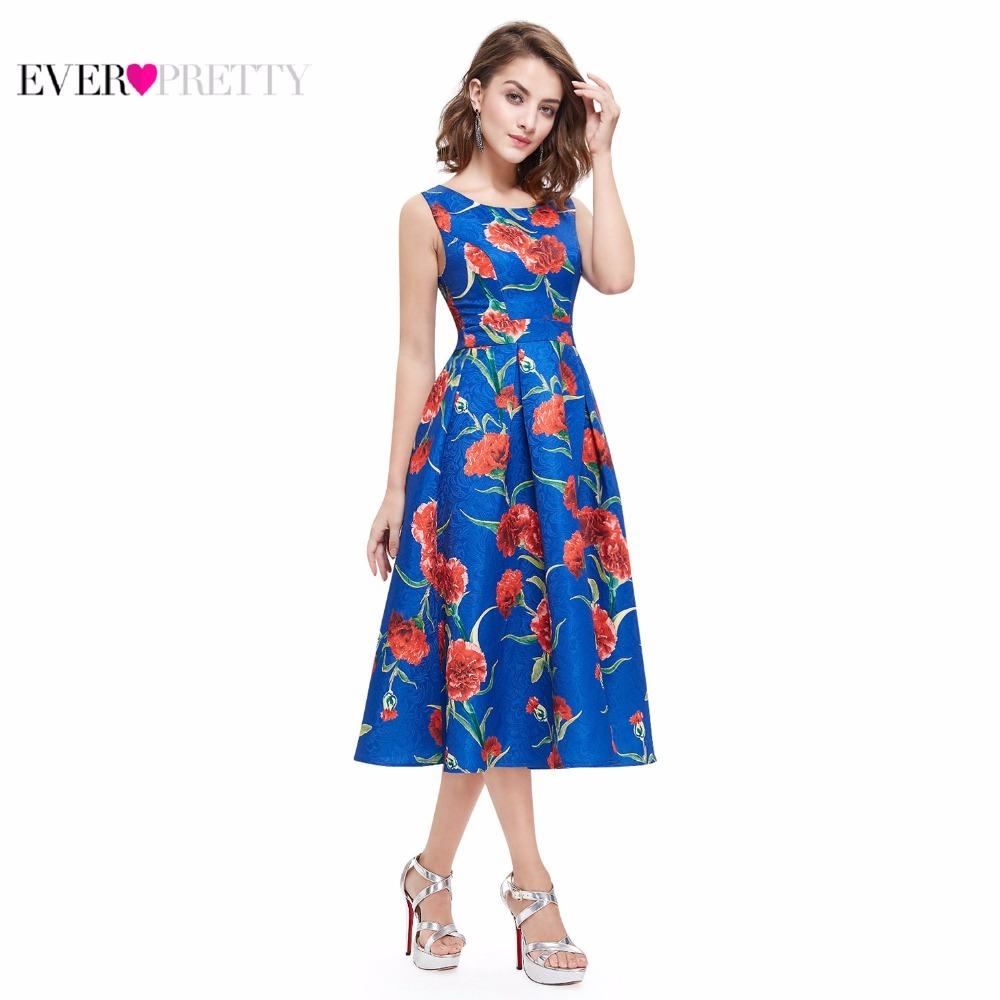 Forceful 2019 Homecoming Dresses Ever Pretty As05443 Summer A-line Satin Vestidos Coctel Floral Printed Sleeveless Cheap Short Party Gown Aesthetic Appearance Weddings & Events