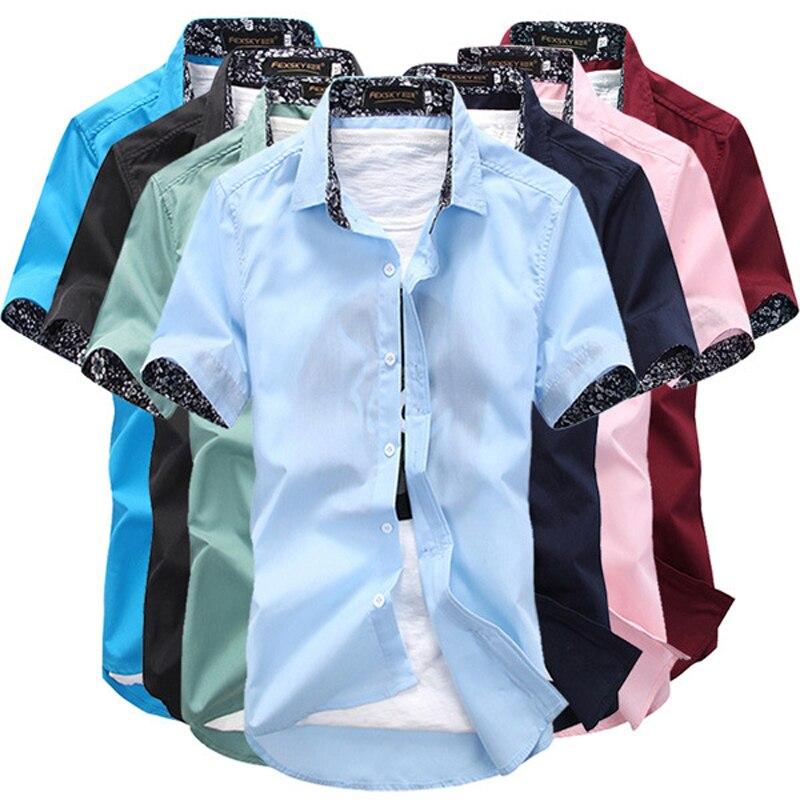 636a6d7a914838f LISIBOOO 2019 Модные мужские однотонные рубашки с коротким рукавом мужская  рубашка Повседневная Деловая Рабочая Рубашка Мужская