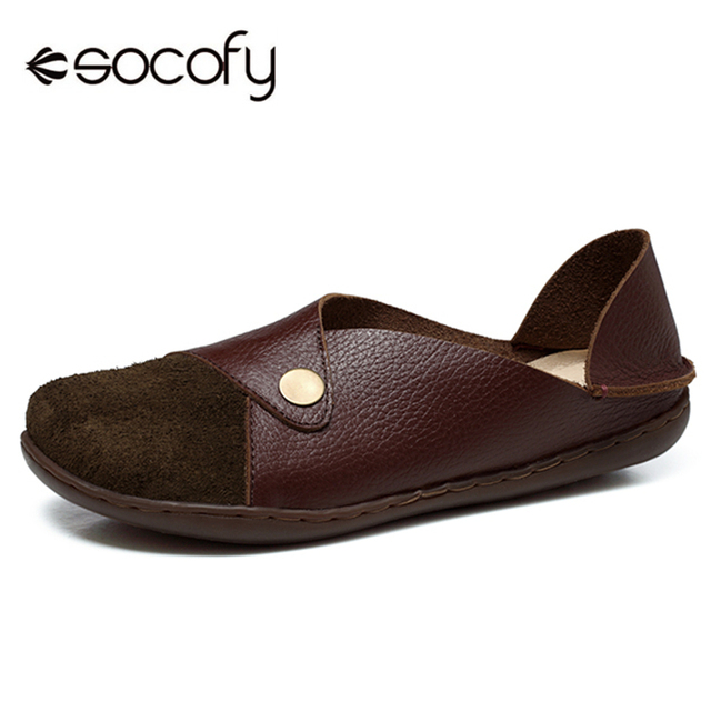 589feb3123d Socofy Splicing Suede Genuine Leather Flats Shoes Women Soft Sole Boat Flats  Casual Loafers Women Flat Shoes Woman Spring Autumn