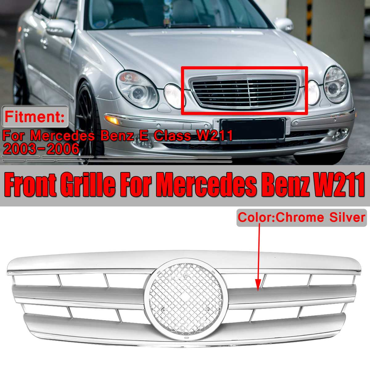 New <font><b>W211</b></font> <font><b>Grill</b></font> Chrome Silver Car Front Bumper <font><b>Grill</b></font> Grille For <font><b>Mercedes</b></font> For Benz E Class <font><b>W211</b></font> Grille 2003-06 Without Emblem image