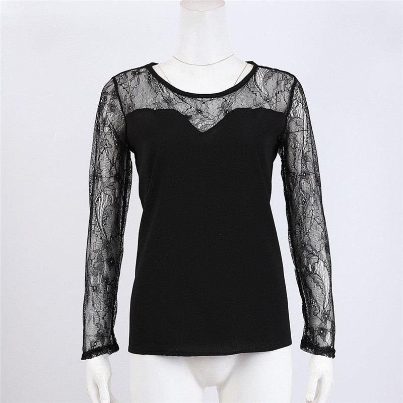 Blusas 2019 Women Blouses Spring Autumn Summer Fashion Sexy Slim Shirt Tops Lace Long Sleeve O-Neck Leisure Black S-XL Outwear