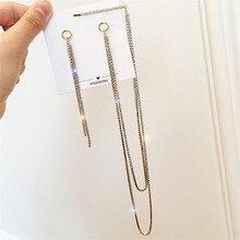 FYUAN Korean Style Rhinestone Asymmetry Earrings for Women Bijoux Gold Silver Color Long Chains Drop Jewelry Gifts