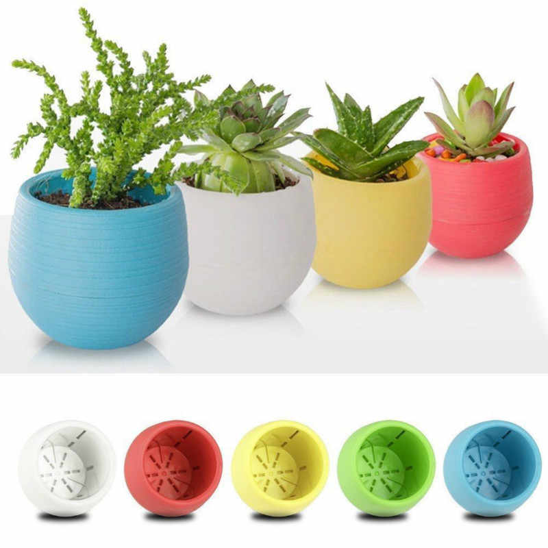 Creative Eco-friendly Colourful Mini Round Plastic Plant Flower Pot Garden Home Office Decor Planter