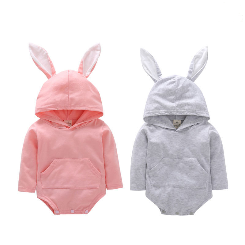Baby Little Girls Boys 3D Bunny Easter Clothes Long Sleeve   Romper   Hooded Solid Jumpsuit