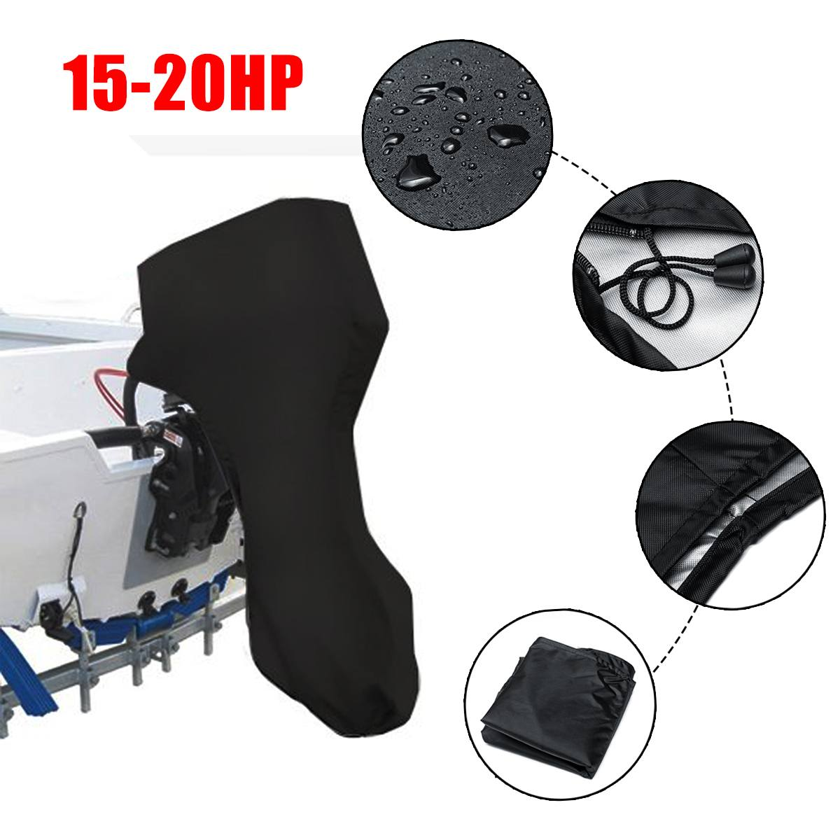 420D 125cm Boat Full Outboard Engine Protector Motor Cover for 15-20HP Boat Motors Waterproof image