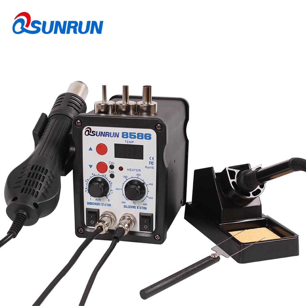 QSUNRUN Soldering Station 2in1 SMD Digital Rework Station 8586 Repair Tool with Soldering Iron and Hot Air Desoldering Gun BlackQSUNRUN Soldering Station 2in1 SMD Digital Rework Station 8586 Repair Tool with Soldering Iron and Hot Air Desoldering Gun Black