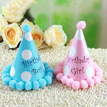 Happy First 1st Birthday Party Hats Polka Dot DIY Cute Handmade Cap Princess Crown Shower Baby Decoration Boy Girl Gifts Supplie(China)
