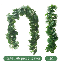 Fake Tropical Palm Leaves Grass Vine Artificial Jungle Plants Turtle Leaf Rattan Simulation Wedding Party Home Table Arch Decor