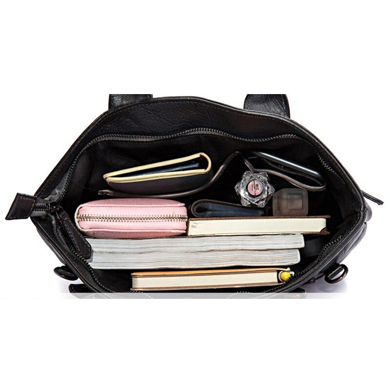 High Quality Natural Skin Top Handle Bags Messenger Shoulder CrossBody Tote Brush Color Handbag Retro Genuine Leather Women Bag
