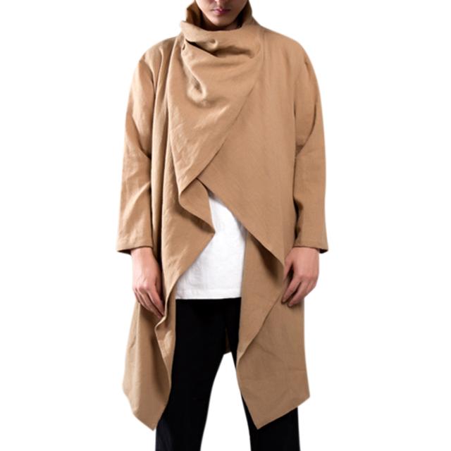 Streetwear Hoody Cardigan Men Long Outwear Shirts Long Sleeve Irregular Male Cloak Casual Trench Mantle Coat Outfits Trench Big
