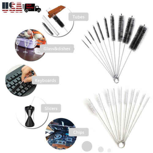 10PCS Household Bottle Brushes Pipe Bong Cleaner Glass Tube Fish Tank Pipe Brush Bottle  Soft Hair Cleaning Brush Tools