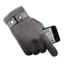 Touch Screen Cotton In Winter And Autumn Suede gloves Down Warm Thickness Drive A Car Chamois Man Leisure Time Glove
