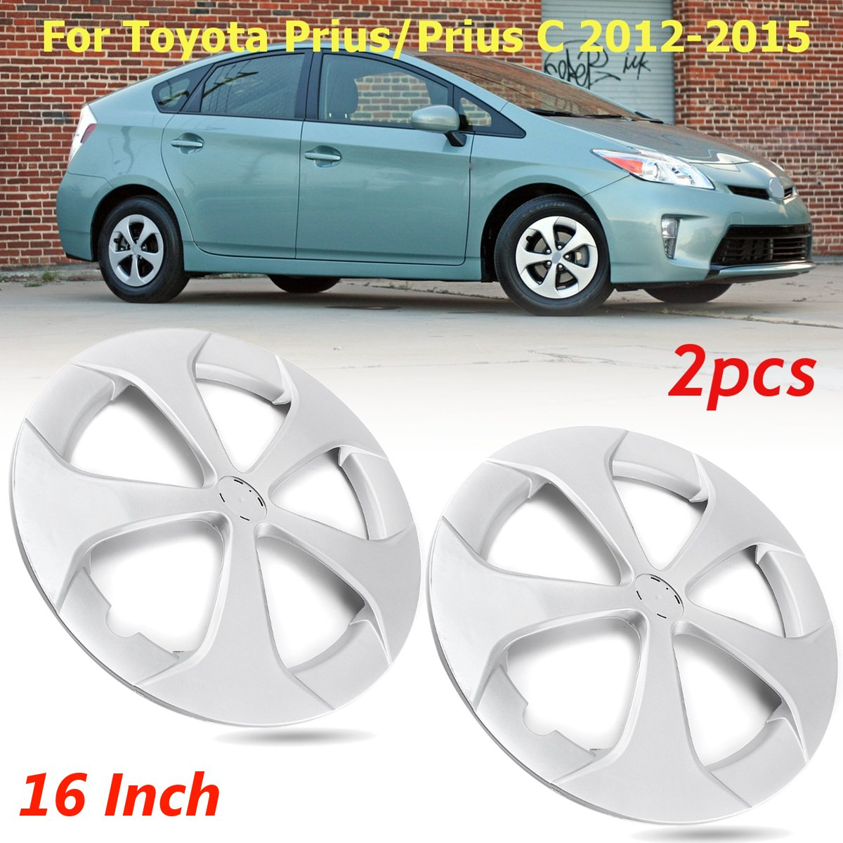 1 / 2 pcs for Toyota Prius/Prius C 2012 2013 2014 2015 16 5-spoke Silver  Hub caps Wheel Cover 4260247060 570-61167