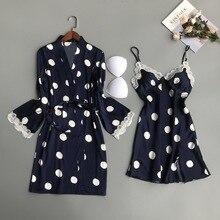 2019 sleepwear feminino 2 peças sexy rendas femme robe & vestido define sleep lounge senhoras nightwear roupão noite vestido almofadas no peito