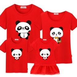 Família combinando roupas verão 2019 família olhar mãe e filha vestidos mãe e me roupas família natal camiseta panda