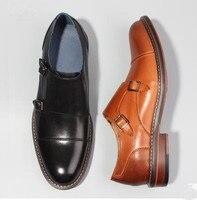 Европейский стиль Мужская итальянская пряжками мужские туфли «Дерби» Бизнес повседневные кожаные туфли торжественное платье Свадебные мо