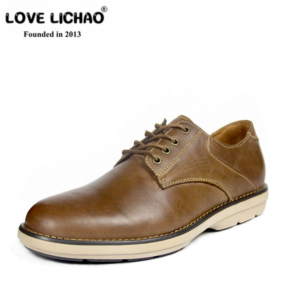 LOVE LICHAO Men Casual Shoes Genuine Leather Oxfords Mens Shoes Leather Walking Shoes Men Flat Shoes Lace-up Mocassin Homme genuine leather men casual shoes wool fur warm winter shoes for men flat lace up casual shoes men s flat with shoes fashion