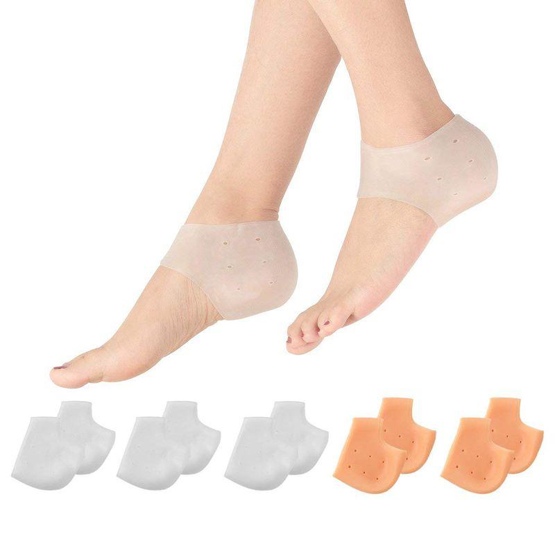 5Pairs Heel Sleeves, Breathable Silicone Heel Socks Protectors To Repair Dry Cracked Heel And Reduce Pains Of Plantar Fasciiti