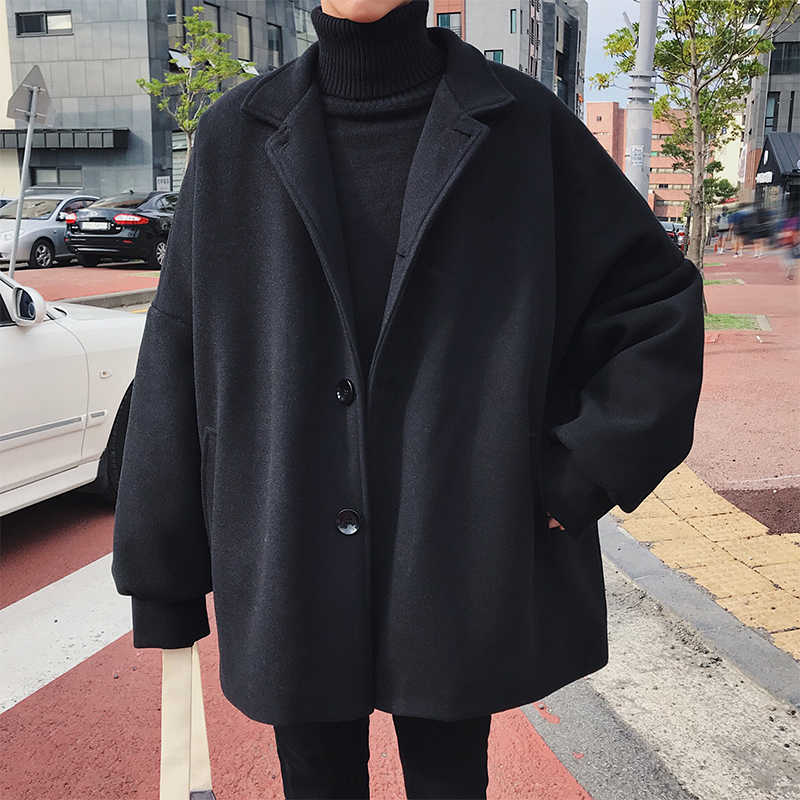 2019 Koreaanse Winter Man Mode Tij Turn-down Kraag Vleermuis Mouw Losse Casual Zwart/Kaki Kleur Wollen Blends overjas Jas S-3XL