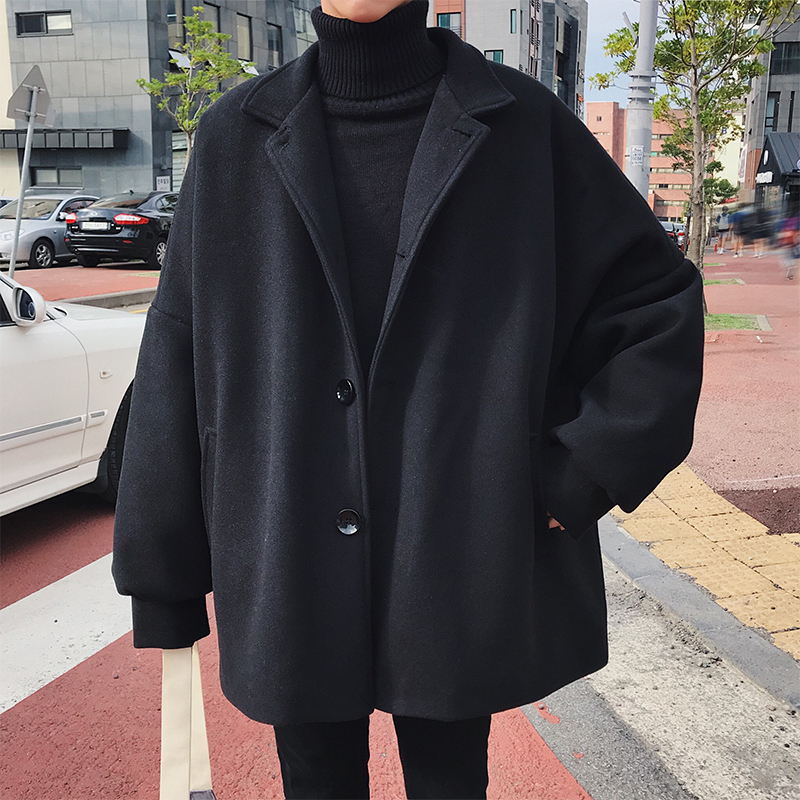 2019 Korean Winter Man Fashion Tide Turn-down Collar Bat Sleeve Loose Casual Black/Khaki Color Woolen Blends Overcoat Coat S-3XL