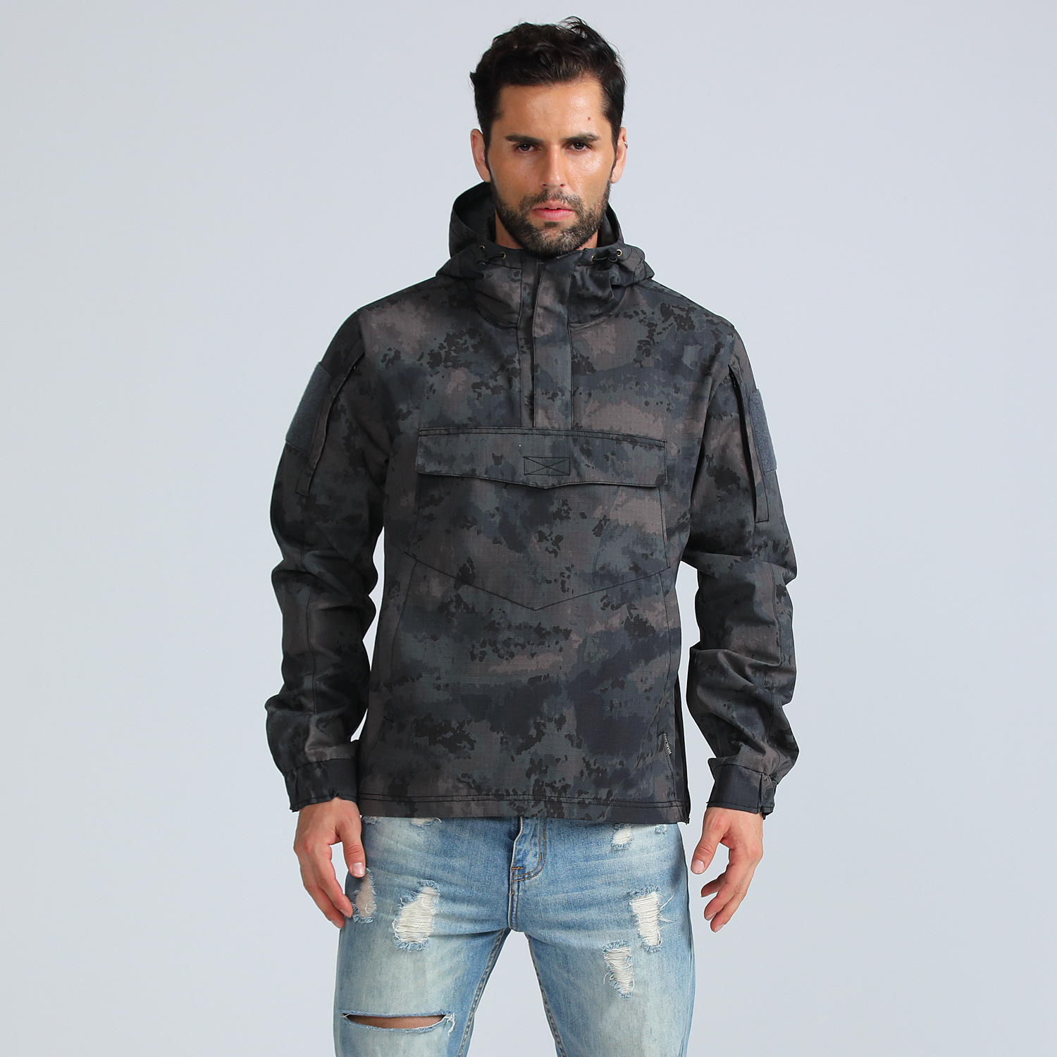 Mens Camo Tactical Pullover Coat With Reflective Stripe Outdoor Climbing Hunting Training Quick Dry Breathable Military Jacket