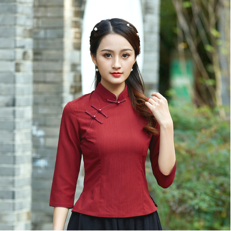 Chinese Clothing Women Qipao Blouse Shirts Tangzhuang Restore Ancient Cheongsam Linen Tops Drak Red Solid Color Oriental Hanfu