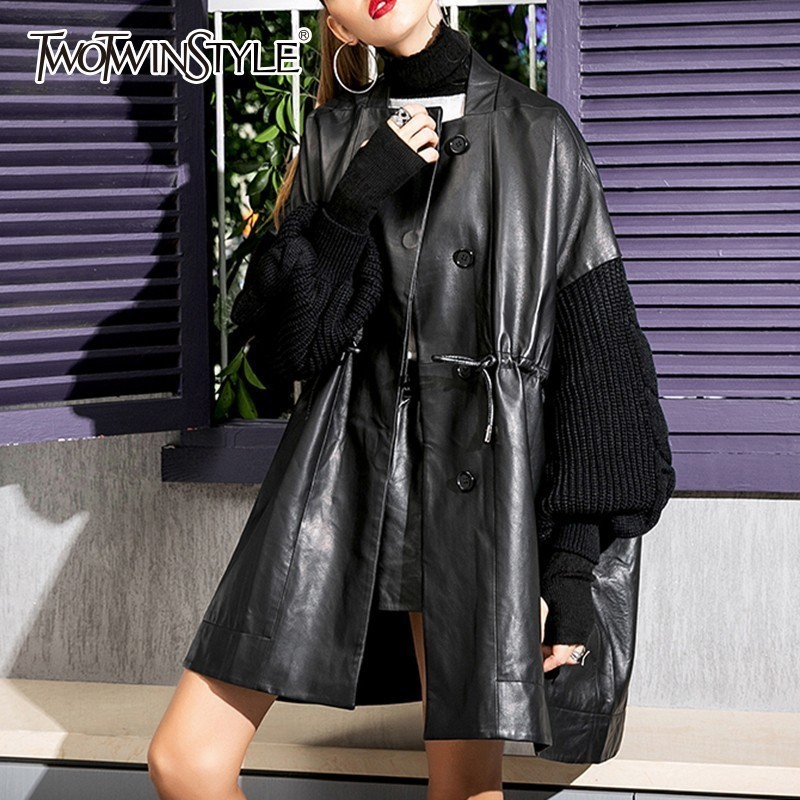 TWOTWINSTYLE PU   Leather   Jackets For Women Patchwork Knitting Long Sleeve Drawstring Women's Jacket 2019 Spring Fashion Tide
