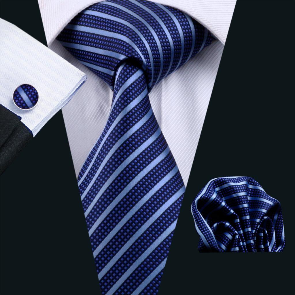 DS-337 Gents Necktie Blue Stripe 100% Silk Jacquard Tie Hanky Cufflinks Set Business Wedding Party Ties For Men Wedding Gifts