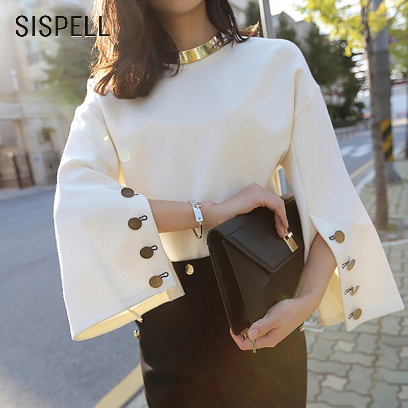 SISPELL 2019 Spring T-shirts For Women O-Neck Side Button Flare Sleeve Female T-shirt Solid Korean Top Fashion Clothing New