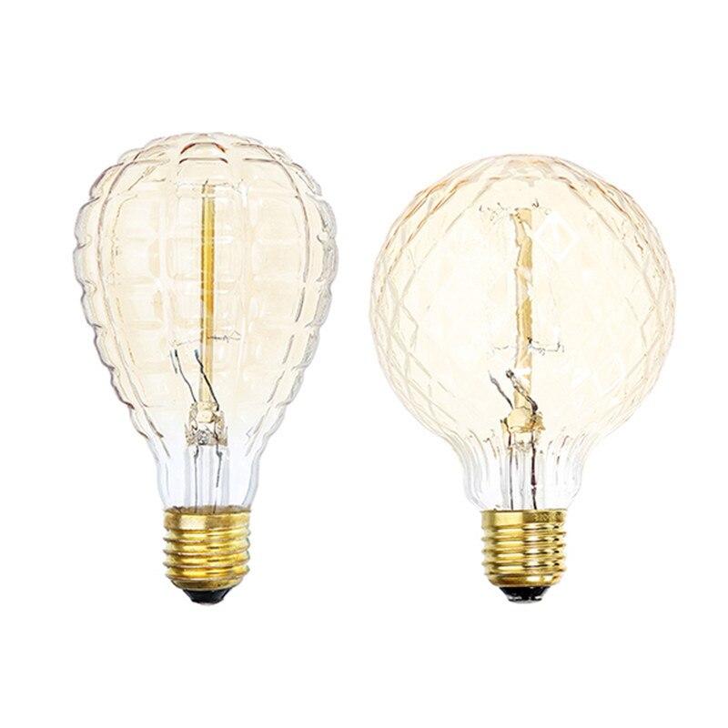 CLAITE AC220V E27 40W globo de piña blanco cálido Retro Vintage Edison bombilla incandescente Global luces decoradas Bombillas Edison clásicas bombilla de luz con filamento LED E27 4W 220V 240V bombilla incandescente Retro cálida bombilla Edison para lámpara colgante