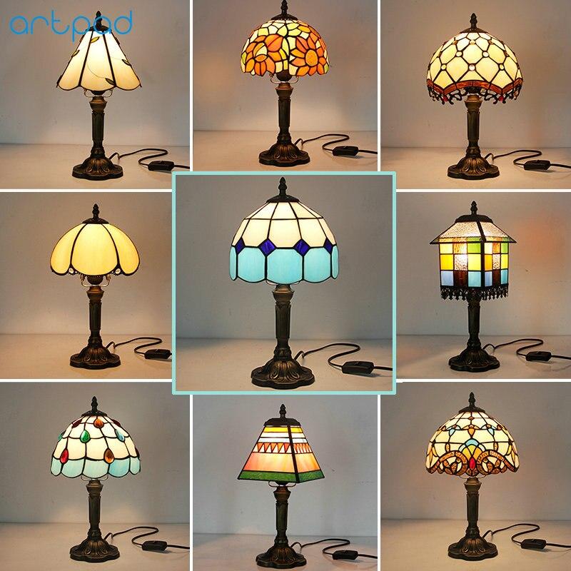 Bozz'art Tiffany Conception Européenne LED Vintage Lampe de Bureau Chambre De Chevet Décoration AC110V 220 v Mosaïque Teinté Lampes De Table En Verre